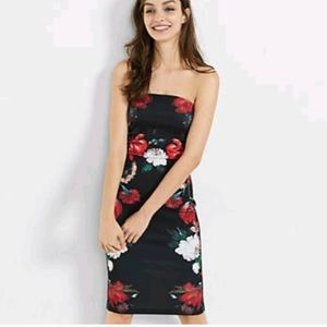 Express Strapless Floral Midi Sheath Dress